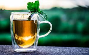Tapety na pulpit Herbata Filiżanka Mięty Rozmazane tło żywność