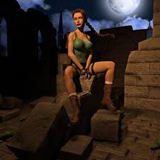Bilder Tomb Raider Tomb Raider Legend Zopf Lara Croft Sitzend Spiele 3D-Grafik Mädchens