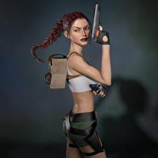 Bilder Tomb Raider Legend Pistole Tomb Raider Lara Croft Zopf 3D-Grafik Mädchens