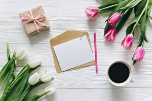 Fotos Tulpen Kaffee Brief Vorlage Grußkarte Briefumschlag Blumen