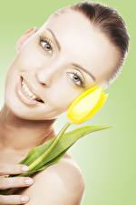 Hintergrundbilder Tulpen Farbigen hintergrund Braune Haare Gesicht Starren junge frau