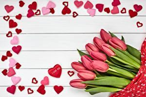Bilder Tulpen Valentinstag Bretter Herz Vorlage Grußkarte Rosa Farbe Blumen