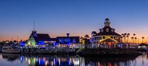 Bilder USA Gebäude Fluss Seebrücke Abend Kalifornien Dorf Shoreline Village in Long Beach Städte