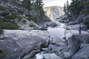 Bilder USA Park Flusse Steine Yosemite Kalifornien Natur