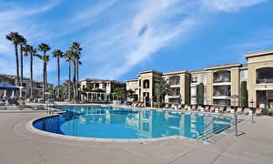 Bilder Vereinigte Staaten Resort Gebäude Kalifornien Schwimmbecken Palmengewächse San Jose