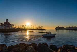 Wallpaper USA Sunrise and sunset Pier Ship Building California Bay Long Beach Nature