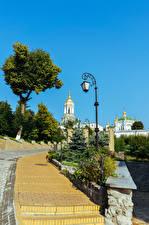 Picture Ukraine Kiev Temple Street lights Stairway Pechersk Lavra complex Cities