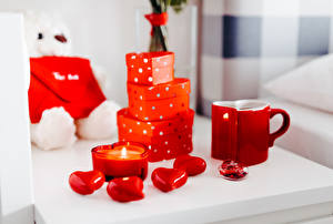 Bilder Valentinstag Kerzen Flamme Geschenke Becher Rot