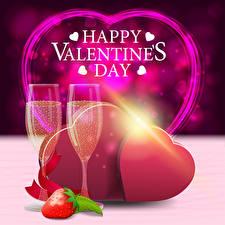 Hintergrundbilder Valentinstag Vektorgrafik Schaumwein Erdbeeren Englischer Text Herz Weinglas Geschenke das Essen