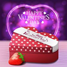 Hintergrundbilder Valentinstag Vektorgrafik Erdbeeren Englisch Text Geschenke Herz