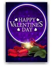 Fotos Vektorgrafik Valentinstag Rose Englischer Text Herz Blüte