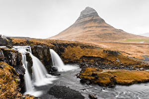 Wallpapers Waterfalls Mountain Iceland Kirkjufell Nature