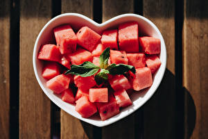 Pictures Watermelons Heart Cube Pieces Food