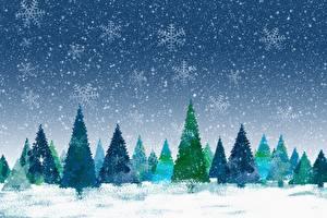 Bilder Winter Neujahr Schneeflocken Fichten
