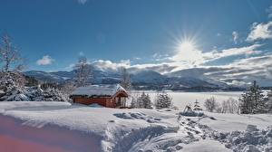 Desktop hintergrundbilder Winter Haus Norwegen Schnee Sonne  Natur