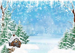 Bakgrundsbilder på skrivbordet Vinter Byggnad Snö Picea Snowflake Hälsningskort mall Natur