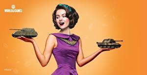 Bilder WOT Tag des Verteidigers des Vaterlandes Farbigen hintergrund Kleid Geschenke Braune Haare Frisuren Valerie computerspiel Mädchens