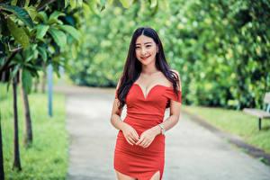Bakgrunnsbilder Asiater Bokeh Posere Kjole Hender Utringning Smil Brunette jente Unge_kvinner