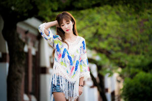Photo Asian Blurred background Pose Hands Brown haired Girls