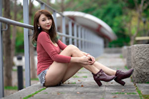 Wallpaper Asian Bokeh Sit Legs Shorts Brown haired Glance High heels Fence  Girls