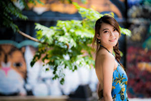 Photo Asian Bokeh Smile Brown haired Sweet Glance young woman