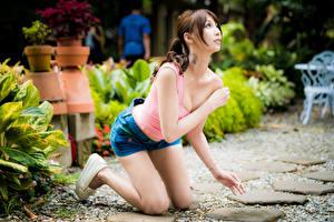 Fotos Asiaten Posiert Shorts Unterhemd Dekolletee Braune Haare Niedlich junge frau