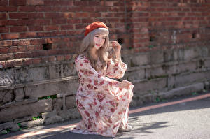 Photo Asian Walls Made of bricks Posing Dress Hands Beret Girls