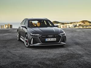 Sfondi Audi Nero Metallizzato Vista frontale Avant, RS6, 2019 Auto immagini