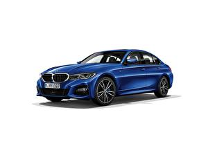 Pictures BMW White background Blue Metallic Sedan 330i M Sport G20 2019 Cars