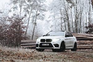 Hintergrundbilder BMW Weiß X6M auto
