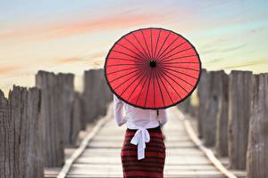 Fotos Hinten Schleife Regenschirm junge frau
