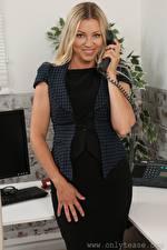 Pictures Blanca Brooke Secretaries Phone Blonde girl Staring Smile Hands young woman