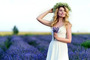 Desktop wallpapers Bouquet Lavender Fields Blurred background Posing Frock Hands Wreath Blonde girl young woman