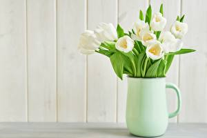 Pictures Bouquets Tulips Jug container White Flowers