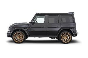 Wallpaper Brabus G-Wagen Mercedes-Benz White background Side Black CUV G63, 800, W463, 2020 automobile