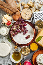 Image Bread Cheese Wine Grapes Tomatoes Walnut Stemware Food