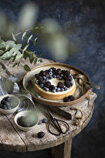 Hintergrundbilder Torte Brombeeren Heidelbeeren Löffel