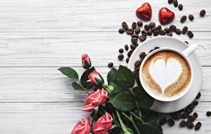 Wallpapers Candy Rose Coffee Cappuccino Cup Heart Grain Food Flowers