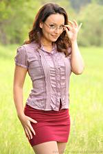 Image Carla Brown Brown haired Staring Eyeglasses Smile Hands Skirt young woman