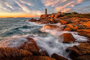 Bilder Küste Leuchtturm Frankreich Stein Wasserwelle Meer Felsen Bretagne, Ploumanach
