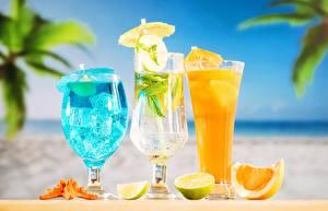 Desktop hintergrundbilder Cocktail Limette Getränk Drei 3 Trinkglas Weinglas das Essen