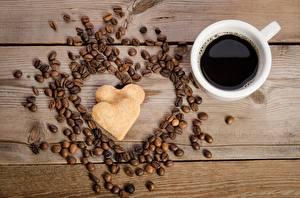 Bilder Kaffee Valentinstag Herz Bretter das Essen