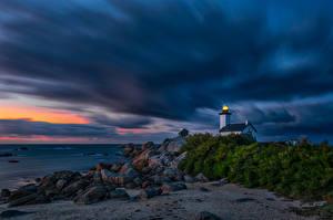 Bilder Abend Morgendämmerung und Sonnenuntergang Küste Leuchtturm Frankreich Gewitterwolke Kersenval, Bretagne Natur
