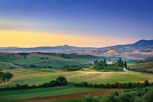 Fotos Acker Toskana Italien Hügel Horizont San Quirico d'Orcia, Tuscany Natur