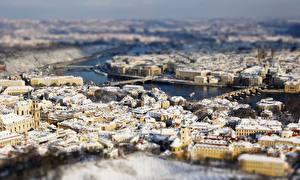 Desktop hintergrundbilder Haus Prag Tschechische Republik Von oben Unscharfer Hintergrund Städte