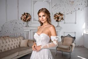 Fondos de Pantalla Vestido Mano Novia Peinado Hermoso Contacto visual Igor Kondukov Chicas imágenes
