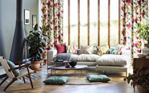 Image Interior Couch Pillows Fireplace Japanese influences meet scandinavian style