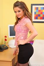 Photo Jess Impiazzi Brown haired Staring Hands Skirt