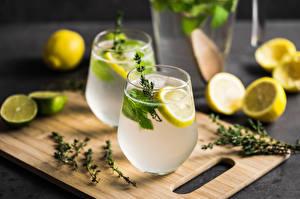 Wallpapers Juice Lemons Mojito Highball glass Cutting board Food