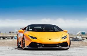 Fotos Lamborghini Vorne Metallisch Orange Gelb Hyuracan auto